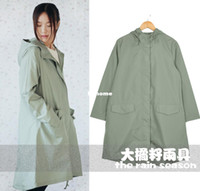 Wholesale waterproof breathable lightweight fashion green tea adult raincoat rain bicycle riding poncho trench coat