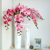 Wedding quality silk flowers - 1 High Quality Silk Flowers Christmas Gift Artificial Fabric Phalaenopsis Orchid Wedding Bouquet Home Decorations