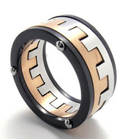 Wholesale Whitney houston Jewelry Stainless Steel Band Mens Ring Black Silver Gold US size to Drop Shipping