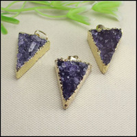 Wholesale 3pcs Druzy Drusy pendant k Gold plated Edge Triangle shape Amethyst Geode Nature Druzy stone Crystal beads for Necklace Jewelry findings