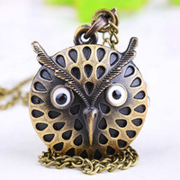 Wholesale 10pcs locket watch mm chain necklaces white Silver alloy OWL Pocket Watch charm Sweater Necklace Pendant