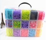 Cheap 30coloi Rainbow Loom kit colorful Rubber loom Bands bracelet amazing gift for children single colors handmade DIY 12000pcsbands+240 S