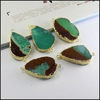 Wholesale 3pcs Gold tone Edge Druzy Australia Jade Nature Green gem stone Connector Beads for Bracelet Jewelry findings