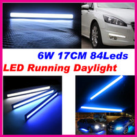 White 12V 2013 6W 17cm LED Car lamp COB DRL Chip waterproof led daytime running Light fog driving bar truck suv car black shell free shipping