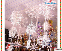 Wholesale 2 sets Christmas Party Decorations Supplies White Snow Snowflakes Hanging Ornaments One Set with