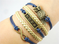 Wholesale Good quality Infinity owl fashion gold braided rope bracelet word hope hope inspirational Multilayer Hot Selling Charm Leather Bracelets