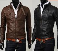 Men leather motorcycle racing jackets - New Slim Multi Pocket Motorcycle Race Suit Tides Leather Clothing Leather Jacket Coat Men s Jackets