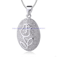 Pendant Necklaces Women's Yes Trendy white rose flower crystal diamonds 925 sterling silver necklaces pendants oval shape for women holiday sale free shipping