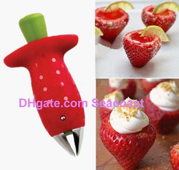 Best Price 500pcs lot NEW Strawberry Stem Leaves Huller Remover Removal Fruit Corer Kitchen Gadgets Cutter