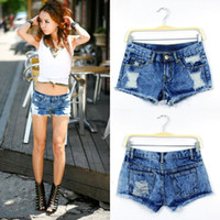 Cheap 2014 New Summer Women's Vintage Low Waist Denim Shorts Women Low-Rider jeans Sexy Ladies Hot Shorts Ripped Holey Washed S M L XL