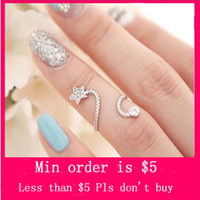 Wholesale Min Order Mix Jewelry order Gorgeous Crystal Rhinestone Starfish Butterfly Flower Spiral Opening Ring D0179