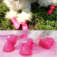 Wholesale 4 Set Candy Colors Waterproof Slip resistant Pet Dog Rain Shoes Protective Rubber boots