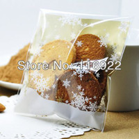 Wholesale snowflake Christmas candy Cellophane Bags self adhesive plastic cookie bags Christmas gift wrapping bag