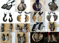 carved ox bone - TNL424 Best offer mix order Tibetan carved ox Bone pendnats Man amulets chain necklace pairs good gift for lovers