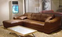 Wholesale 2013 European Modern Design Living Room furniture Small L Shaped Genuine Leather corner sofas Confortable sofa corner L8057