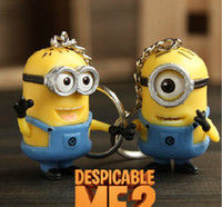 Wholesale Cartoon Despicable Me D Eye Small Minions Anime Doll PVC Action Figure classic Kid toys Key Chains set