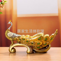 Metal Dishes & Plates others free shipping Peacock rich fruit plate resin fruit bowl candy tray coffee table decoration desktop decoration Small
