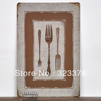 Metal Folk Art Europe For decorative painting tableware metal painting muons tiepai vintage 20*30cm kitchen wall decors tin sign art mix order