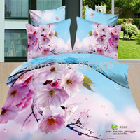100% Cotton Hotal Adults pink pear blossom Flower 3d bedclothes 100 Cotton bedspread bed Linens queen full size duvet quilt pillow cover free fast ship
