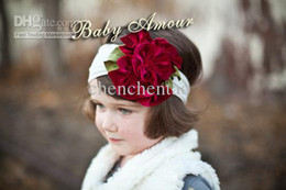 Wholesale Hair band head new top baby hair band girls large flower crochet hair bow clip baby headband kid