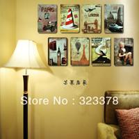 Wholesale Vintage retro painting finishing metal painting flat scrub oil dull bar decoration iron wall decor cm