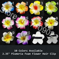"Wedding Decorative Flowers & Wreaths Yes Free Shipping!! 100pcs lot 2.35"" Hawaiian Plumeria Frangipani Foam Flowers Hair Clips (10 colors mixed)"