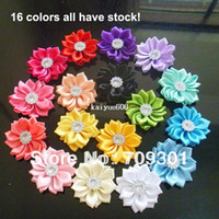 Wholesale DIY flower quot Ribbon Flowers for hair clip headband shoes skirt Multilayers Flower With crystal