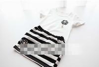 Wholesale New In Summer Children Clothing Ladies Girls Flower Pattern White Short Sleeve Tshit Striped Skirt Set Child Skirtsuit J0286