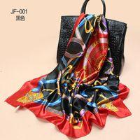 Wholesale 2014 Silk Square Scarf Women Fashion Brand High Quality Square Silk Satin Scarves Polyester Shawl Big Size x90cm FJ