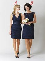 Wholesale Fabulous Kennedy Blue Pleats Sheath Bridesmaid Dresses V Neck Sleeveless Backless Lace Short Mini Cocktail Dress