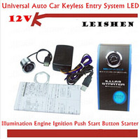 Wholesale SPECIAL OFFER HOT SALE V Car Engine Start Push Button Switch Ignition Starter Kit Blue LED Retail top sale