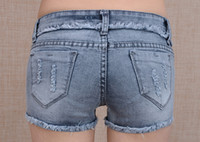 Cheap b31088#new 2014 women's sexy denim shorts ripped hole skintight mention hip short jeans