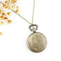 Wholesale Hot sale fashion vine Owl Hunter Case Floral Necklace Pocket Watch