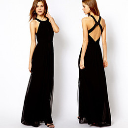 Wholesale Sexy Maxi Dress Night - Brand New Backless Bandage Slim Sexy Cubwear Dresses Fashion Black Red Sleeveless Summer Casual Women Clothing High Quality Free Shipping