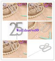 Wholesale Diamante Dual Numerals Monogram Cake Toppers Rhinestone Wedding Anniversary Birthday Decorations Styles