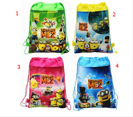 Wholesale DHL despicable me Drawstring Cartoon Backpack Kids School Bag Children Handbag Gift Bag