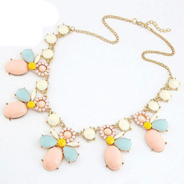 2014 New Fashion Flower Alloy 18K Gold Plated Resin Costume Statement Necklaces & Pendants Women Jewelry Gift S90009