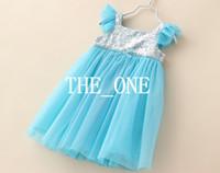 Girl baby bling dress - frozen blue elsa dress bling sequin dress sleeveless sequin paillette dress party for toddler baby girl frozen ELSA tulle dress hot