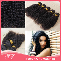 Wholesale Hot sale Brazilian peruvian malaysian indian mongolian human hair extensions hair wefts A Virgin hair kinky curly hair four color to choos