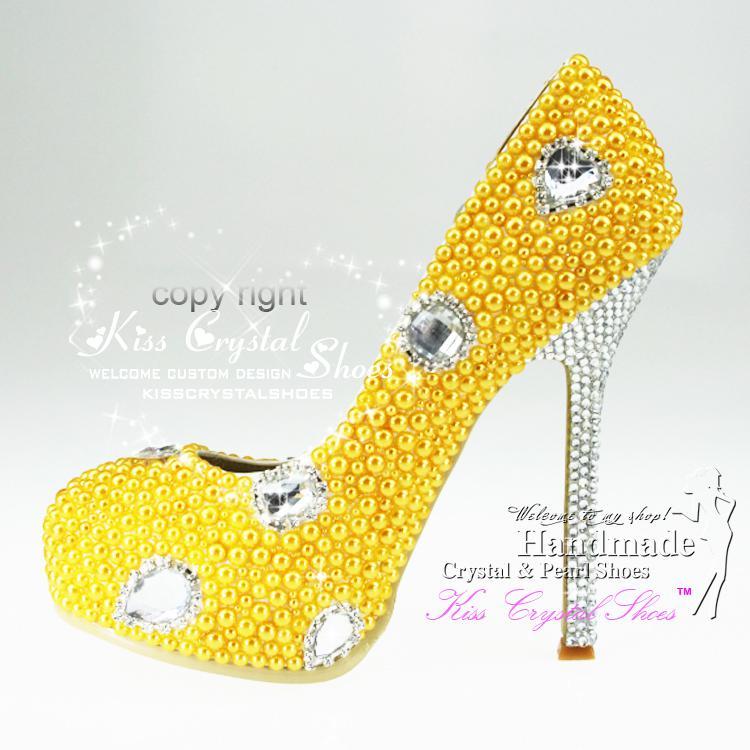 New Handmade Closed Toe High Heel Platform Pumps Yellow Shoes