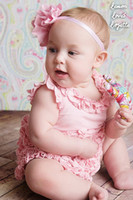 baby connection clothes - 2014 New Arrival Girls Jumpsuits Pink Cake Side Triangle connection modelling Baby Romper Headwear Summer Kids Clothing TX657