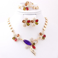 Wedding Jewelry Sets Celtic Gift High Quality Colorful Zircon African Costume Necklace Earrings Sets Crystal 18k Gold Plated Women Wedding Bridal Jewelry Sets