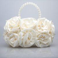 Wholesale New Hot Sale Ivory Satin Rose Pearls Handbags Bridal Handbags Formal Occasion Wedding Bridal Handbags Evening Bags Formal Party Handbags