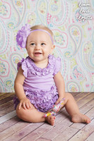 Girl baby connection clothes - Summer Clothing New style Kids Rompers Girls Jumpsuits Purple Cake Side Triangle connection modelling Baby Romper Headwear TX658