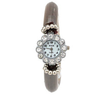 Wholesale 2014New Arrival Woman s Flower Full Diamond Cylinder Pattern Flexible Bracelet Watch
