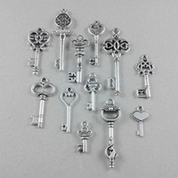 Wholesale Antique Silver Vintage Key Alloy Charms Pendant DIY Jewlery Findings
