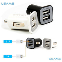Car Chargers Black and White  USAMS 3.1A USB Dual Car Charger 5V 3100mah Dual 2 Port car Chargers Adapter for iPhone 5 5S iPod iTouch HTC Samsung s3 s4 s5 500pcs lot