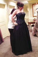 Wholesale Plus Size Mother of the Bride Dresses Richest Embroidered Crystal Beading Bodice Gathered Low Waist Purple Satin Mother Wedding Party Gowns