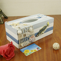 Wholesale K2421 JJ large Mediterranean style tissue box made of old wooden boxes of paper napkins pumping creative home decor