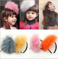Rabbit fur princess accessories - Children hair band Rabbit Hair headbands Feather fashion headband flower baby girl princess hair accessories